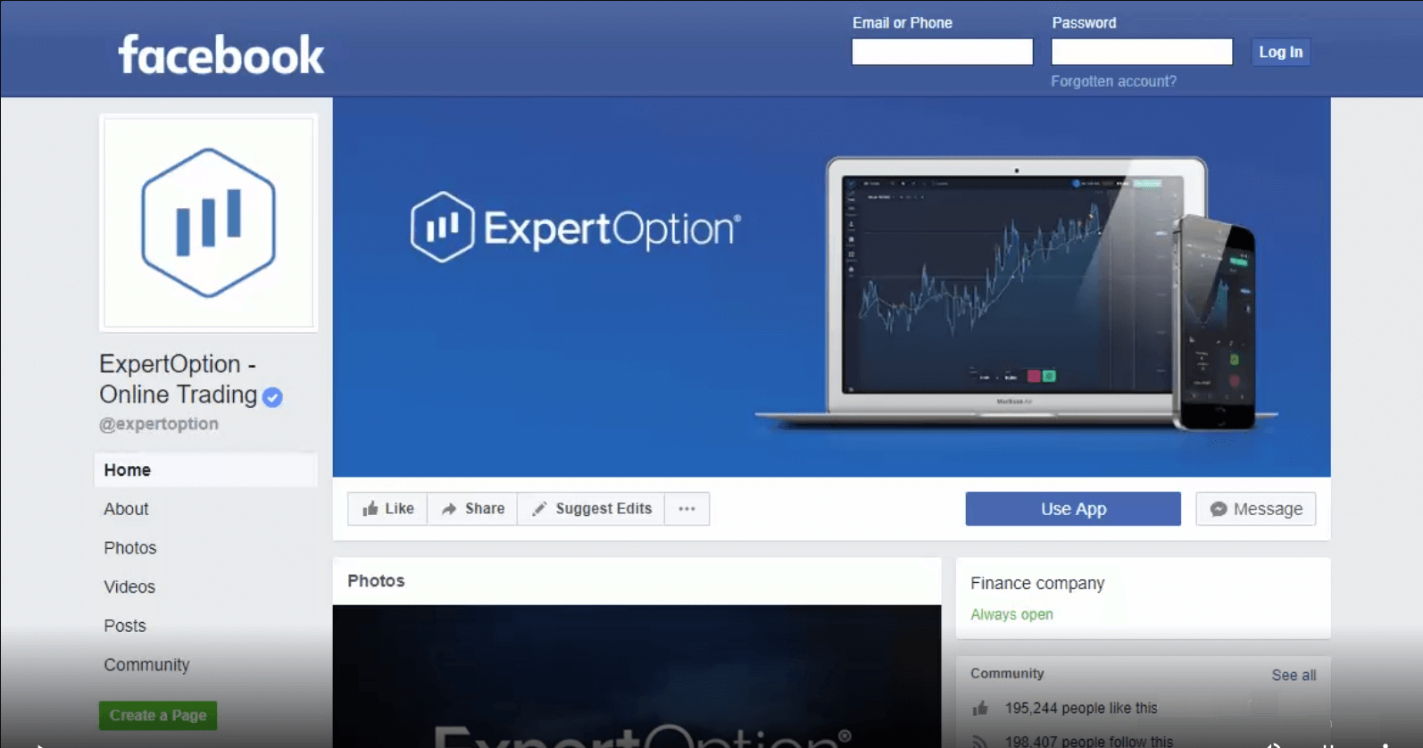 Review of ExpertOption on Facebook Page