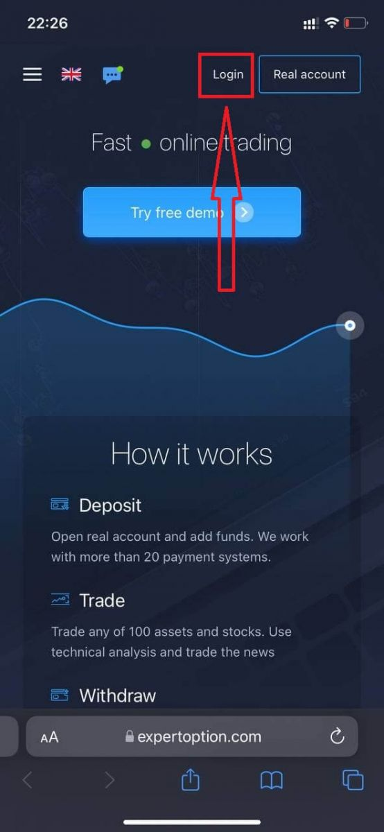 How to Login and start Trading Binary Options at ExpertOption